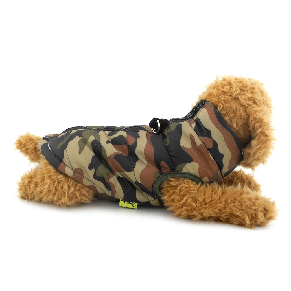 Ranphy Small Dog/Cat Soft Vest Harness Coat Padded Jacket Zipper Closure Toy Poodle Coat Green Camo XL