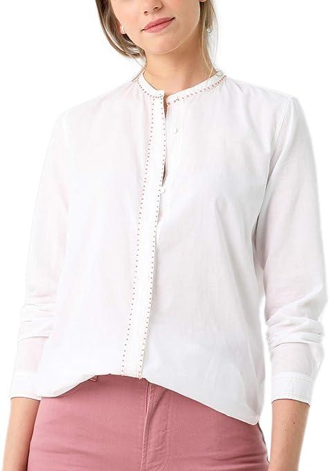 Scalpers Camisa Pespuntes Y Pliegues Delantero - Camisa para Mujer, Talla L, Color Blanco: Amazon.es: Ropa y accesorios