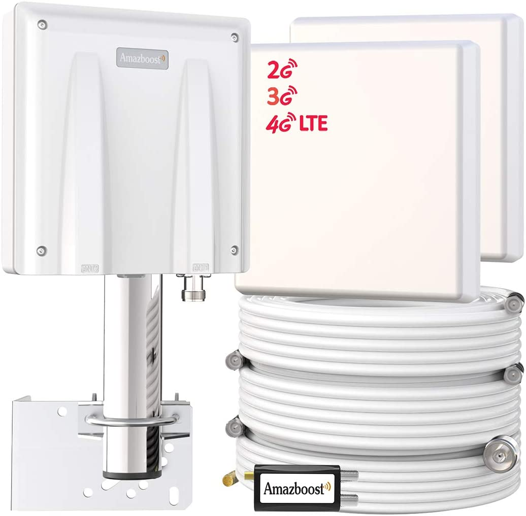 Amazboost Cell Phone Signal Booster for Home(MultiRoom)-Max Up to 8,000 sq ft | All U.S. Carriers - Verizon, AT&T, T-Mobile, Sprint & More | FCC Approved