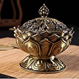 DEBON Green Bronze Alloy Incense Burner Lotus Aroma Furnace Creative Gifts Decorative Crafts Incense Burner Incense Furnace Sandalwood Furnace, Great As A Exquisite Furnishing Articles for Your Room (Small)