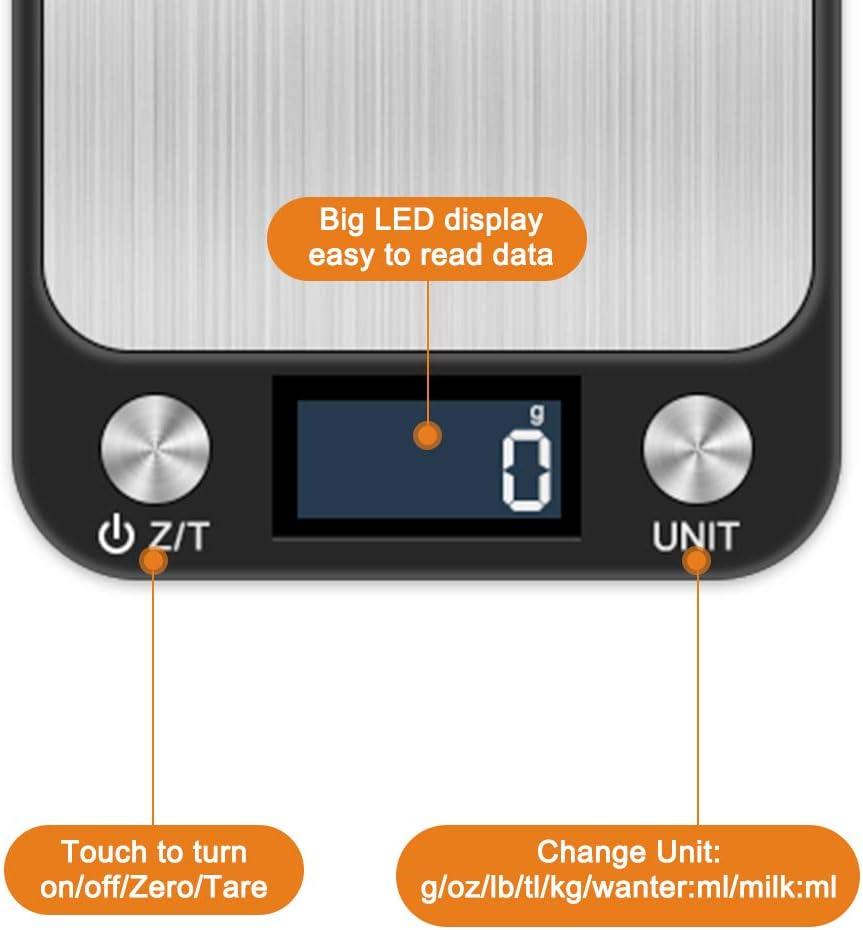 10kg//1g Tactile Sensible /Écran LCD R/étro-/éclair/é Acier Inoxydable Auto-arr/êt Balance de Cuisine de Haute Pr/écision Fonction de Tare otumixx Balance Cuisine Electronique Balance de Precision