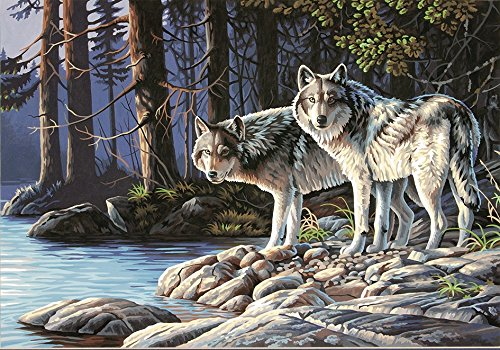 Dimensions Crafts Paintworks Paint by Number Kit, Gray Wolves
