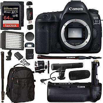 "Canon EOS 5D Mark IV DSLR Camera Body + 5D IV Camera Grip + 64GB Memory Card + Microphone + Polaroid 160 LED Video Light + 72"" Monopod + SLR Backpack Accessory Bundle"