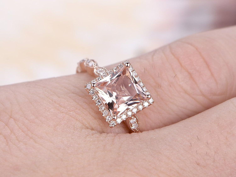 Amazon.com: 2 Morganite Bridal Rings Set,6.5mm Princess Cut Pink ...