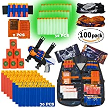 Kids Camo Tactical Vest Kit for Nerf Guns N-Strike Elite Series with 100 Refill Darts, 6 Targets, 2 Quick Reload Clips, Gun Holster, Wrist Band, Face Mask and Protective Glasses! ULTRA VALUE PACK!