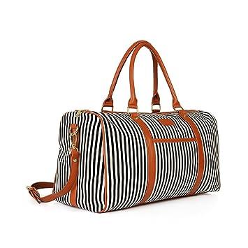 98edbea8f7 Travel Bag Women Weekender Duffel Bag Canvas Travel Tote Carry On Flight  Holdall Bag Handbag for Weekend Overnight Trip with Shoulder Strap