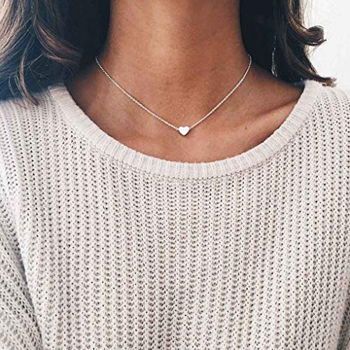 (LittleB Simple Choker Heart Pendant Necklace for women and girls. (Silver))