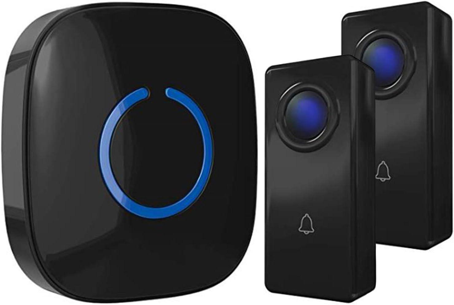 Wireless Doorbell by SadoTech – Waterproof Door Bells & Chimes Wireless Kit, 1000-ft Range,52 Door Bell Chimes, 4 Volume Levels with LED, Wireless Doorbells w/ 1 Receiver & 2 Button, Crosspoint, Black