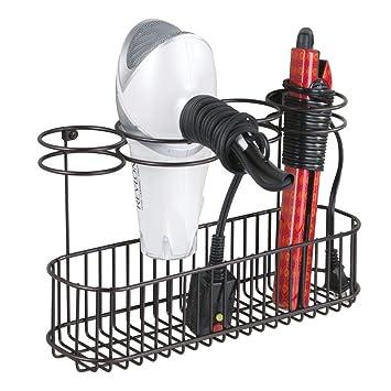 mDesign Soporte de pared para secador de pelo – Práctico estante de baño con 4 divisiones