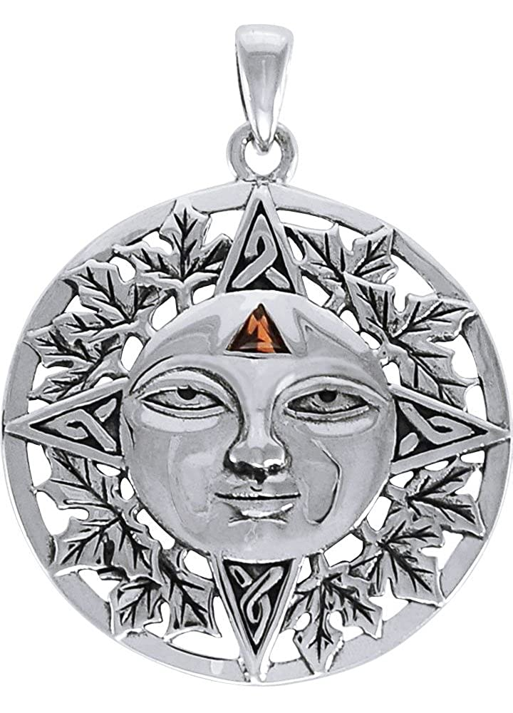 Jewelry Trends Sterling Silver Autumn Sun Face Celtic Medallion Pendant with Garnet