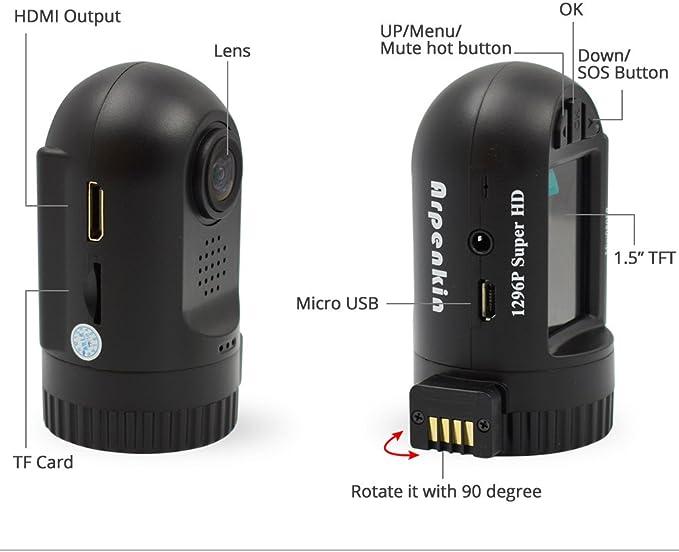 GPS G-Sensor Mini 0805P Dash Cam Camera with Capacitor FHD 1296P Motion Detection Night Vision OverTemperature Protection Upgrade 0805 Mini0805P Micro USB Port Arpenkin RD201610004