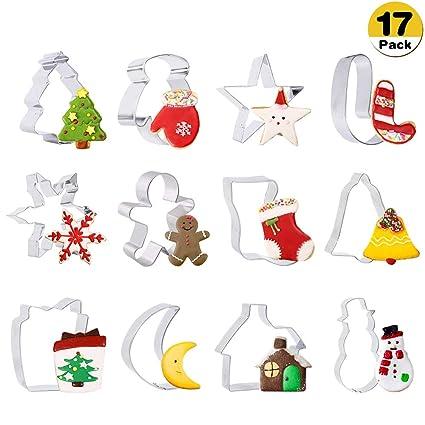 Moldes Galletas Navidad-17 Piezas Cortadores de Galletas Acero Inoxidable para Hornear,Copo de