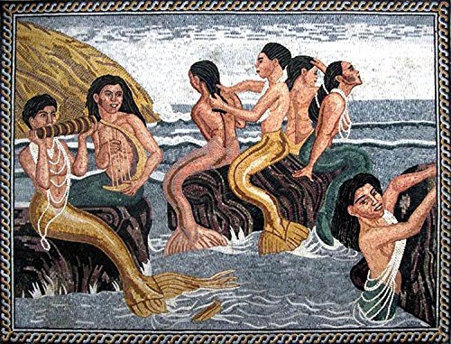 Mozaico - Tim Ashkar ''Mermaids of the Canary'' Handmade Mosaic Reproduction Marble and Natural Stones Art MS065 by Mozaico