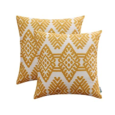 HWY 50 Cotton Embroidered Decorative Throw Pillow Covers Sets Cushion Cases for Couch Sofa Bed Living Room Yellow Euro Modern Abstract Artistic Rhombus Geometric 18 x 18 inch Pack of 2