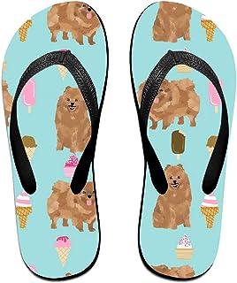 Pomeranian Dog, Cute Dog Design, Pom Dog, Ice Cream Summer Design Flip Flops Rubber Thong Sandal Beach Slipper for Women/Men