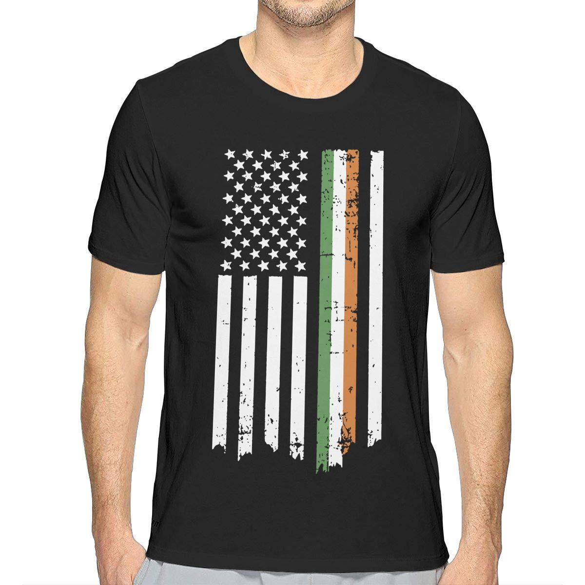 JJKKFG-H Irish American Flag Mens Sport Short Sleeve Tshirts