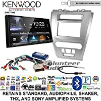 Volunteer Audio Kenwood DMX7704S Double Din Radio Install Kit with Apple CarPlay Android Auto Bluetooth Fits 2010-2012 Fusion (Silver)