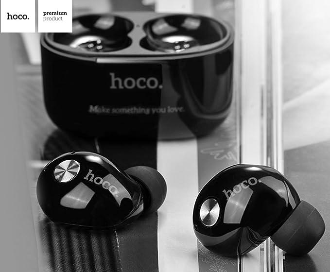 Mini Auriculares de Boton, Inalámbricos Bluetooth 4.2 Hoco ES10 In-Ear función [manos libres] Caja de Carga Portátil Micrófono [EDR 3D] y Cancelación de ...