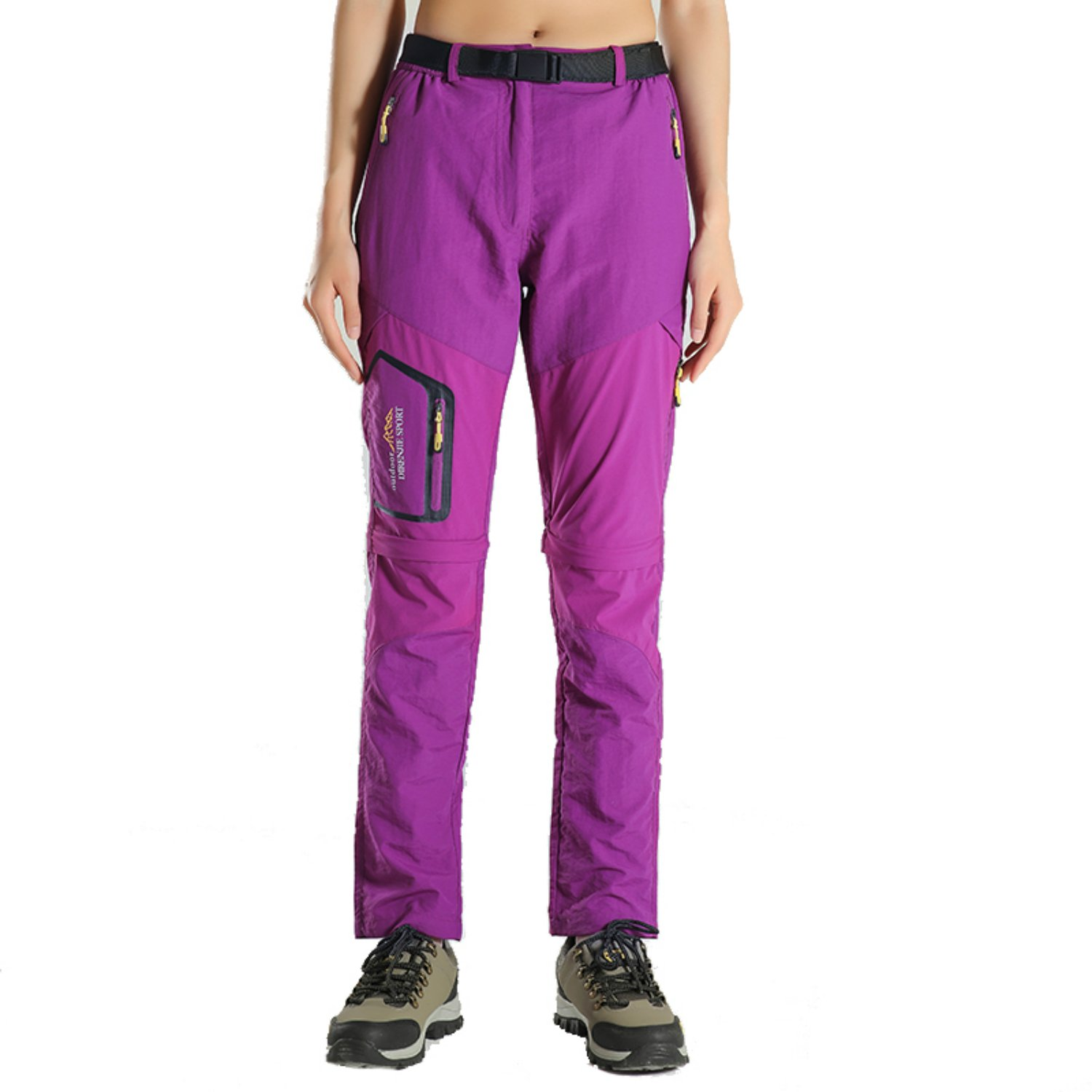 siwode Women's Outdoor Quick Dry Two-Section Lightweight Water-Resistant Hiking Pants