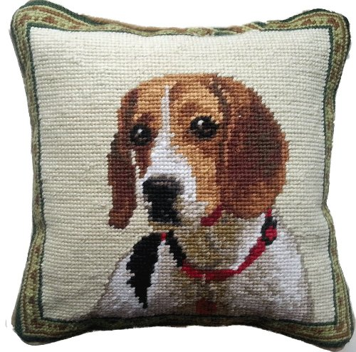 Beagle Hound with Red Collar Dog Portrait Wool Needlepoint Throw Pillow - 10