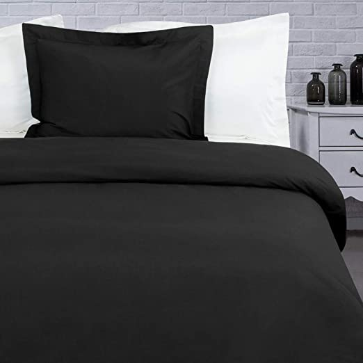 Ultra Luxury and Soft 3-Piece Zipper Closure Black Kids Bedding Duvet Cover Set NTBAY Twin Satin Duvet Cover
