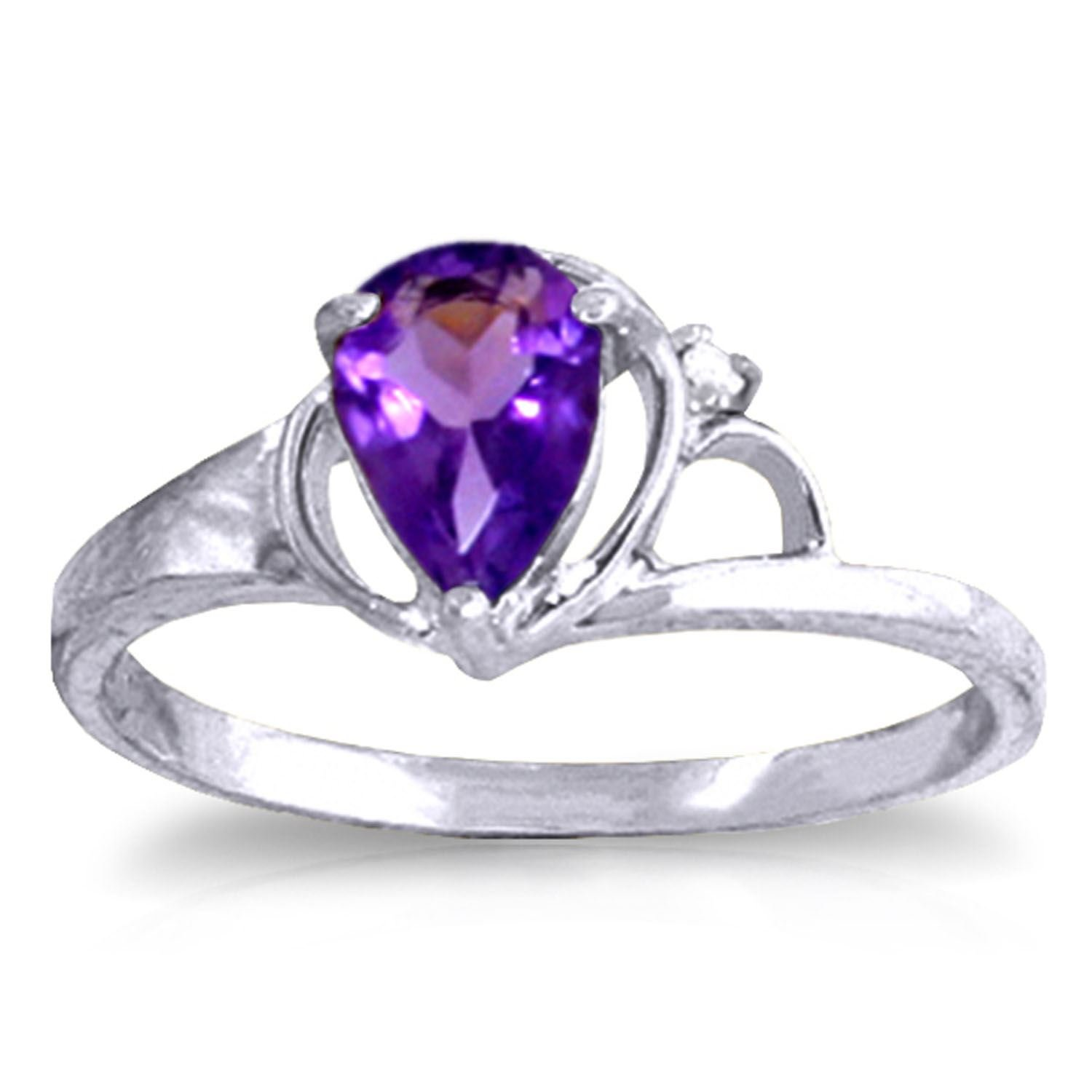 ALARRI 0.66 Carat 14K Solid White Gold Love Is Alive Amethyst Diamond Ring With Ring Size 11