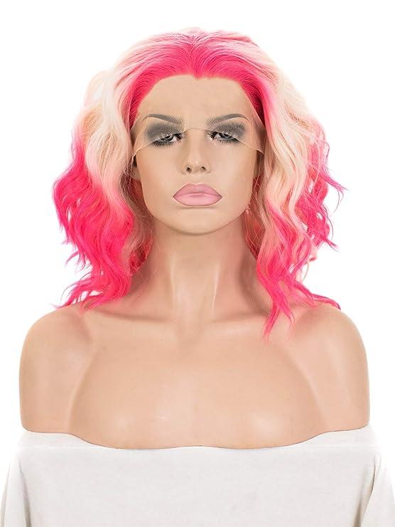 Imstyle Drag Queen Peluca de Encaje Frontal, Corta Rizada Ondulada de Color Rosa Neón y Rubio Mixto, Por Cosplay Fiesta Disfraces, Pelo Sintético Resistente ...