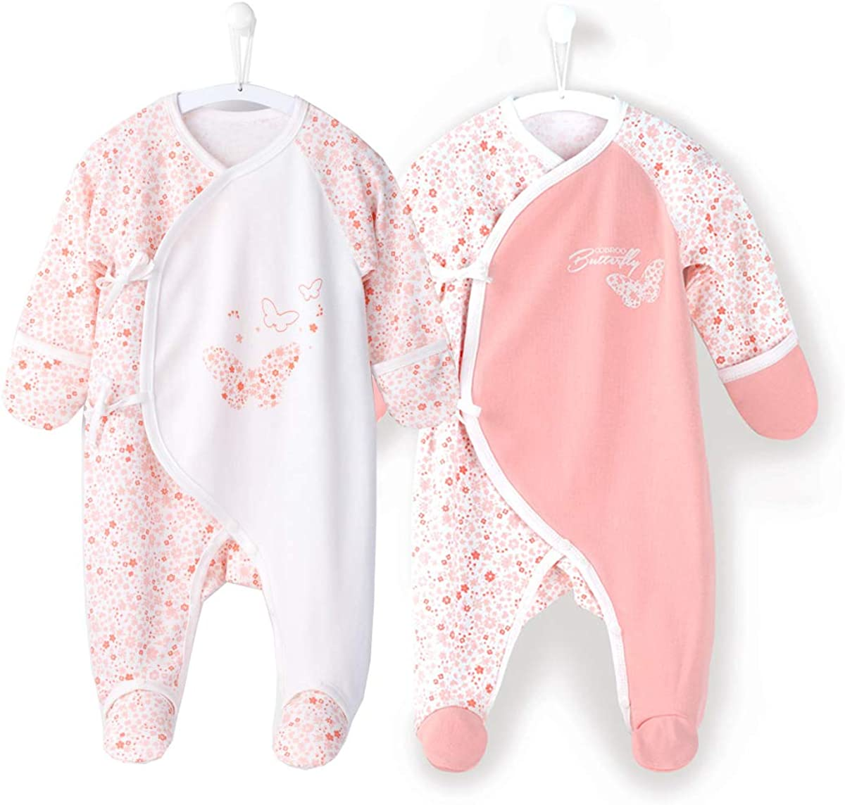 COBROO Baby Footed Sleeper with Mittens 100/% Cotton Allover Cloud Print Side-Belt Baby Pajamas 0-6 Months