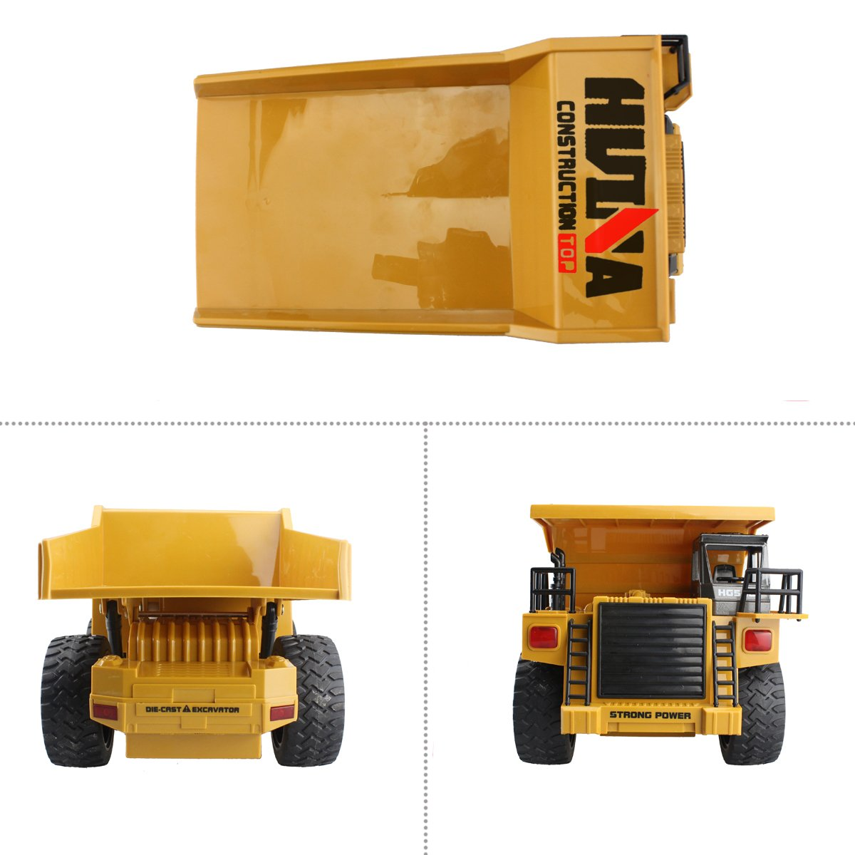 fisca RC Truck 6 Ch 2.4G Alloy Remote Control Dump Truck 4 Wheel Driver Mine Construction Vehicle Toy Machine Model with LED Light by fisca (Image #4)