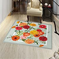 Shabby Chic Dining Room Home Bedroom Carpet Floor Mat Floral Flowers Leaves Buds Frame Artwork Print Non Slip Rug 5x6 Pale Green Dark Coral Mustard Peach Red
