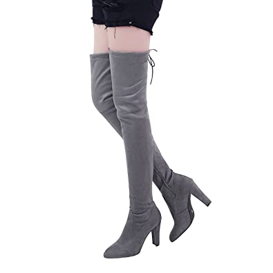 a0f7c2b53410 VFDB Women Over The Knee Boots Thigh High Stretch Block Chunky Heel Faux  Suede Booties US