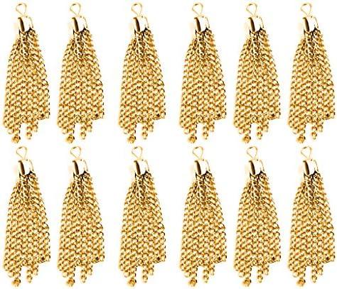 KOZEEYハンドメイド アクセサリー用 合金製 ペンダント チャーム タッセル型 (ゴールド) 12個