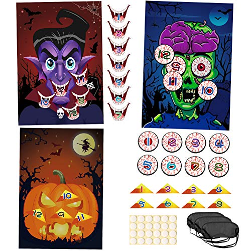 Zombie Party Games Halloween (Konsait 3 Pack Large Halloween Party Supplies Pin the Nose on Pumpkin, Pin the Eye on Zombie, Pin the Mouth on Vampire Fun Halloween Game Packs Reusable kids Gift Halloween)