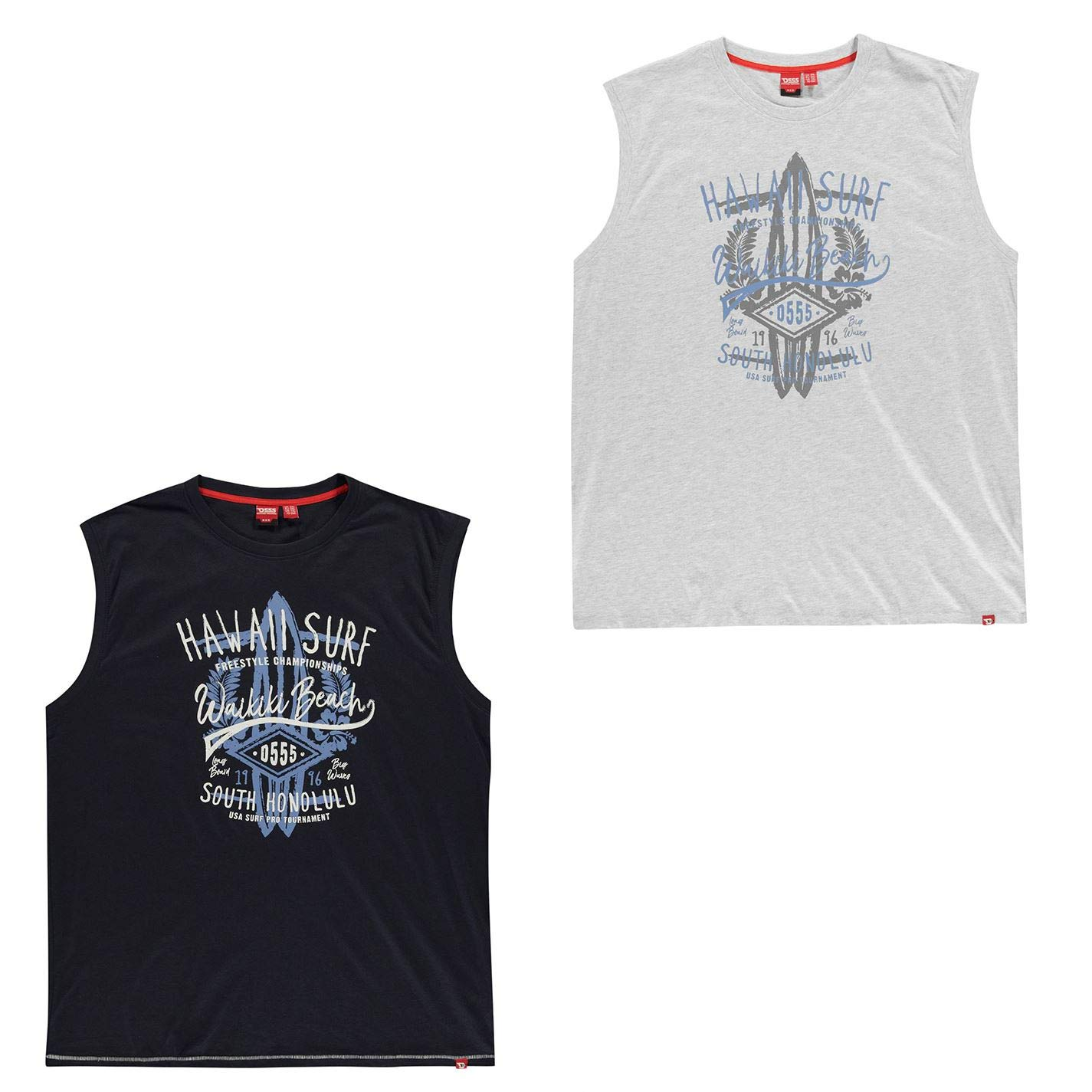 D555 Aloha Sleeveless T Shirt Mens Vest Tops Tank White XXXXX-Large by D555