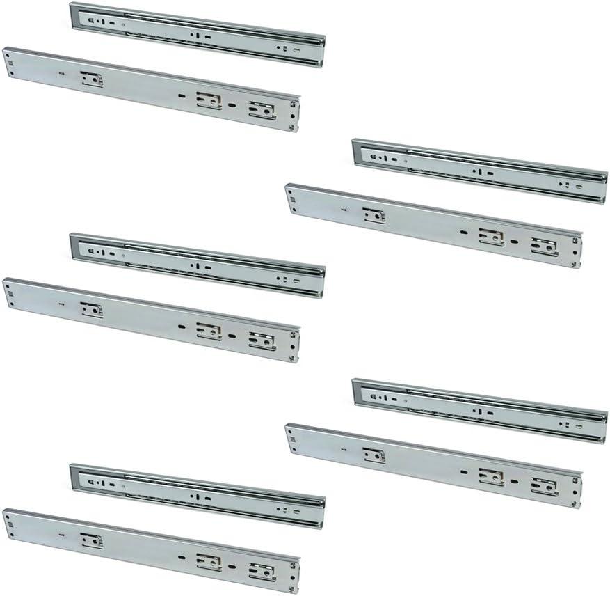 EMUCA - Guías Laterales para cajones con rodamiento de Bolas 45mm x 400mm, Pack de 5 Juegos de guías de extracción Total con Cierre Suave