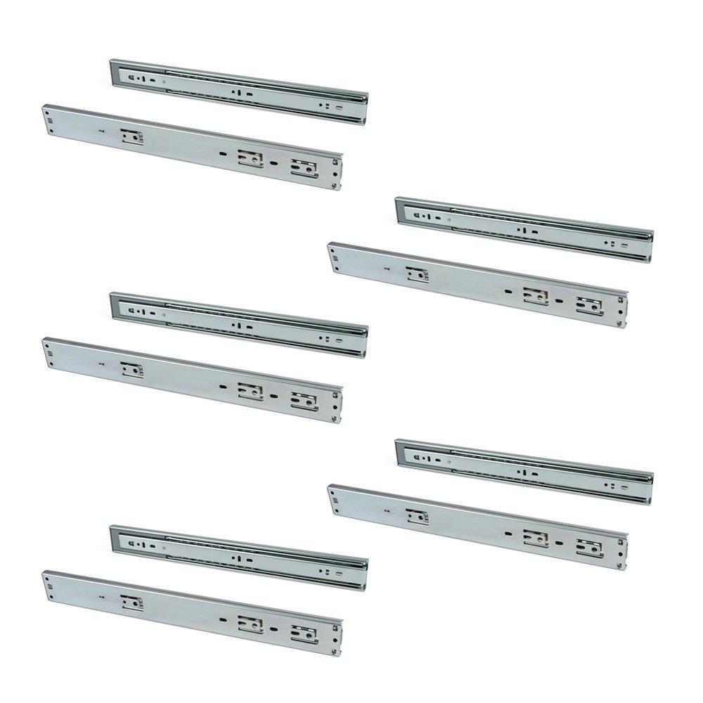 Emuca 3049805 Paire de coulisses/glissières à billes sortie totale et fermeture amortie 45mm x 500mm pour tiroir