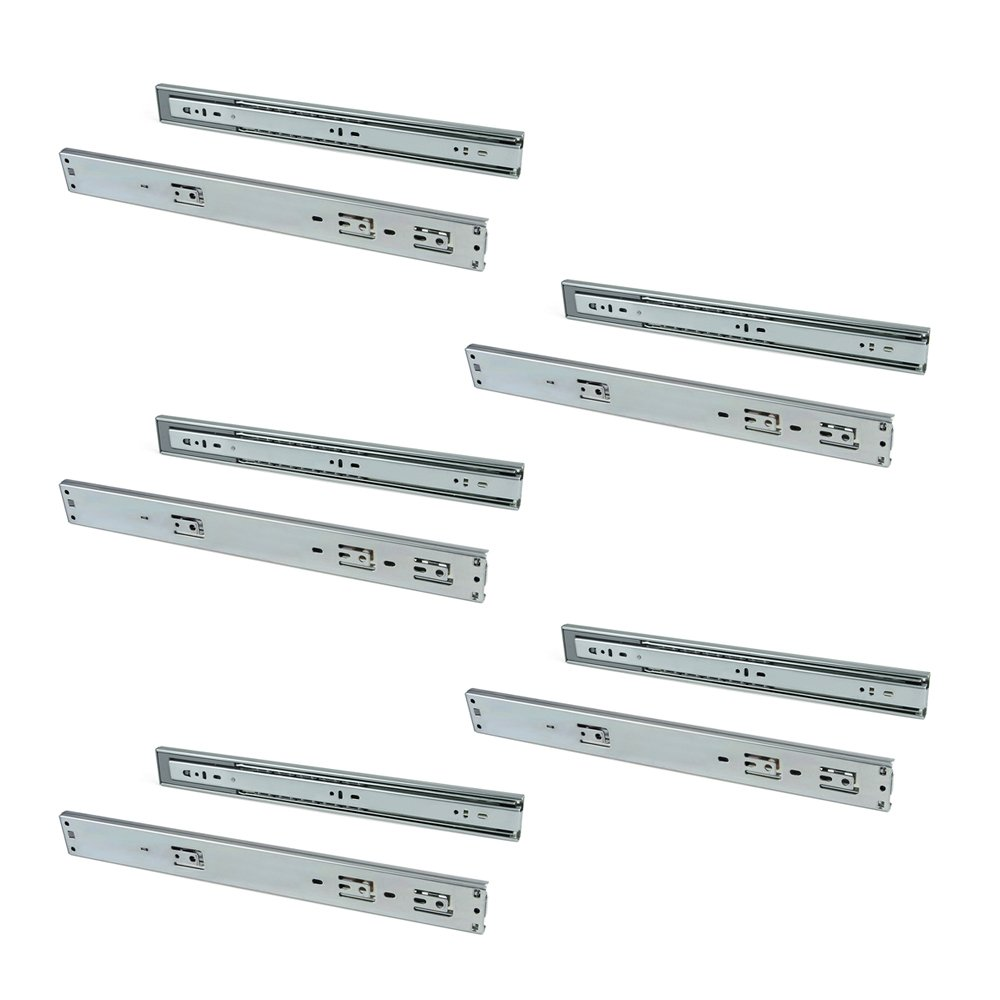 Emuca - Ball bearing drawer slides 45mm x 300mm, Set of 5 pairs of full extension drawer runners with soft closing