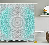grey ombre shower curtain - Ambesonne Grey and Turquoise Shower Curtain by, Primitive Spiritual Essence and Universe Harmony Mandala Ombre Art, Fabric Bathroom Decor Set with Hooks, 70 Inches, Turquoise Grey