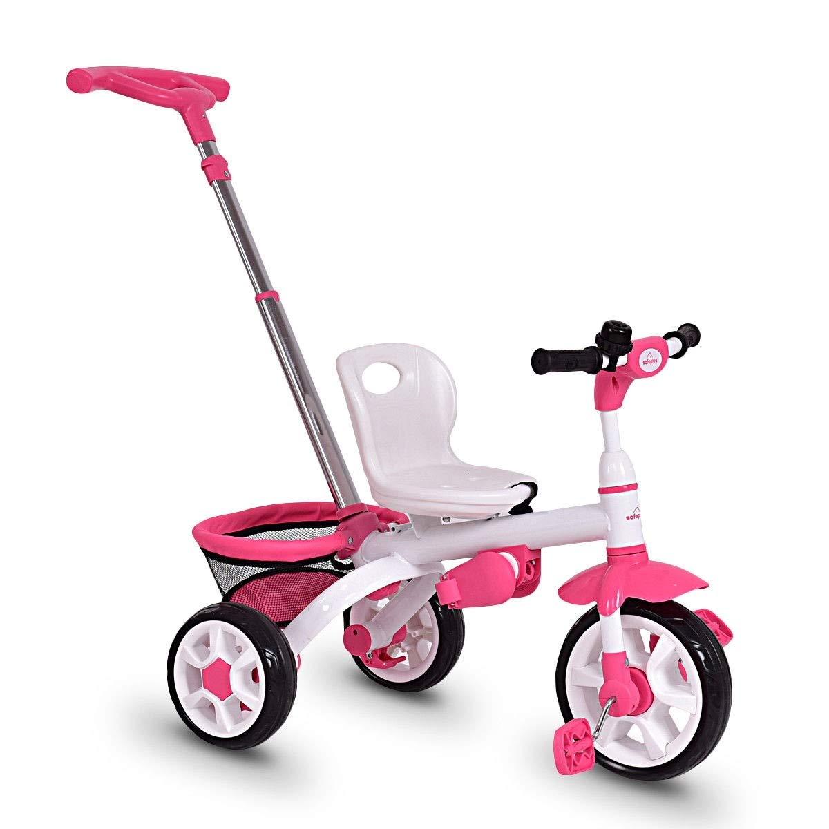Pink CHOOSEandBUY 4-in-1 Detachable Baby Stroller Tricycle with Round Canopy Children Classic Wheels Comfortable Cushion