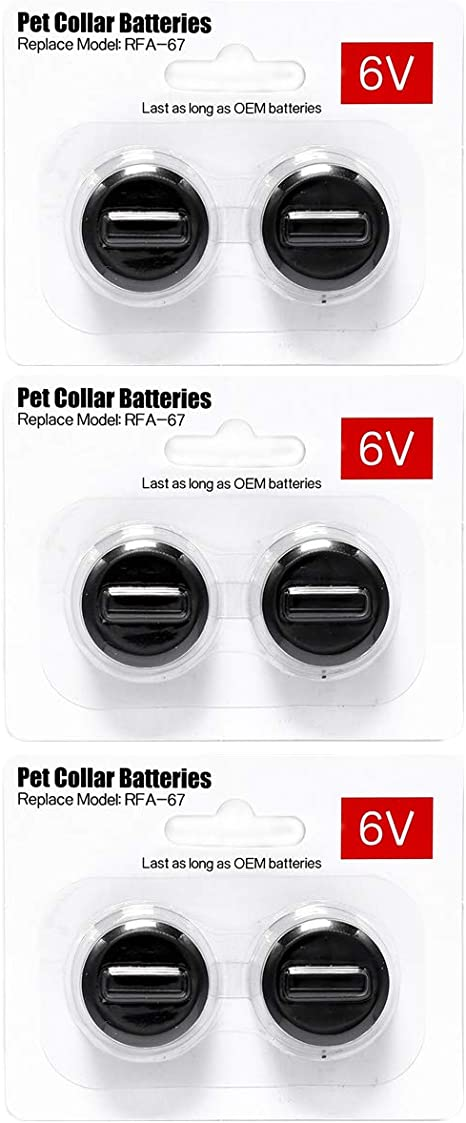 Ruzixt 6V Pet Collar Batteries Compatible with PetSafe RFA-67 6 Volt Replacement Battery 6 Pack