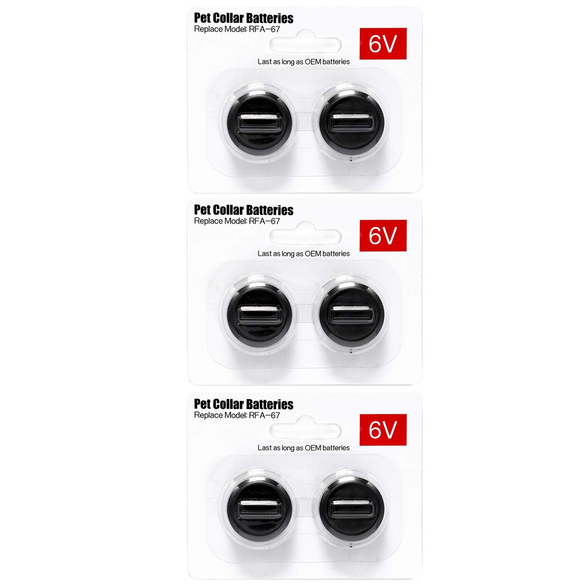 6Packs Pet Collar Batteries Compatible with PetSafe RFA-67 6 Volt Replacement Batteries by LiBatter