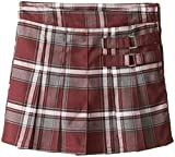 Image of French Toast Little Girls' Plaid Pleated Scooter, Burgundy Plaid, 5
