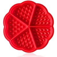 ZTSY Bakeware High Quality Silicone Waffle Baking Moulds Mini Heart Waffle Mould Muffin Mould,Red