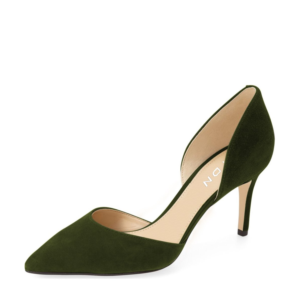 YDN Women Classic Low Heels D'Orsay Pumps Suede Pointed Toe Slip On Dressy Stilettos Shoes B01N2TGVNS 10 B(M) US|Dark Green