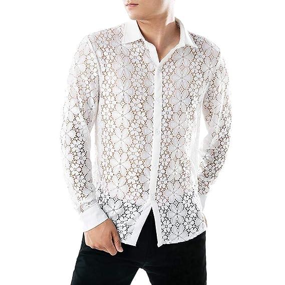 Yvelands Camisa Atractiva de los Hombres, Camisas del cordón de los Hombres Solapa de la