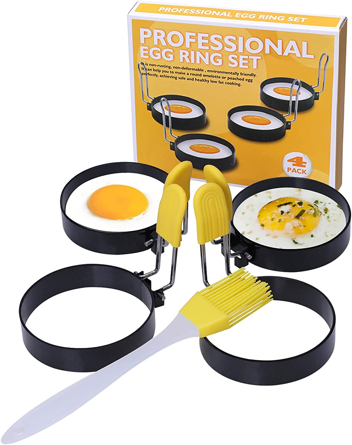 LEASEN Egg Rings, 4 Pack 3-Inch Food-grade Non-stick Coating Stainless Steel Pancake Mold with Anti-scald Silicone Handle, Used for Egg Mcmuffin, Sandwich, Frying Egg, Hamburger, Mini Pancakes, Yellow