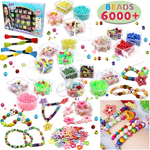 Beads Set 6000 Pieces DIY Beads Kit; 28 Different Types & 4 Color Strings for Jewelry Necklace Making, Friendship Bracelet Making and Valentines Day Children Arts & Crafts Beads by JOYIN ()