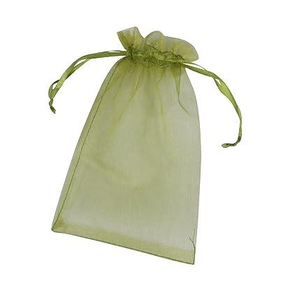 ONW Bolsas de Organza para Envolver Regalo Detalle de Boda Joyas Caramelo Dulces Bolsitas para Regalos ,Verde Oliva 100 PCS 15x20 cm