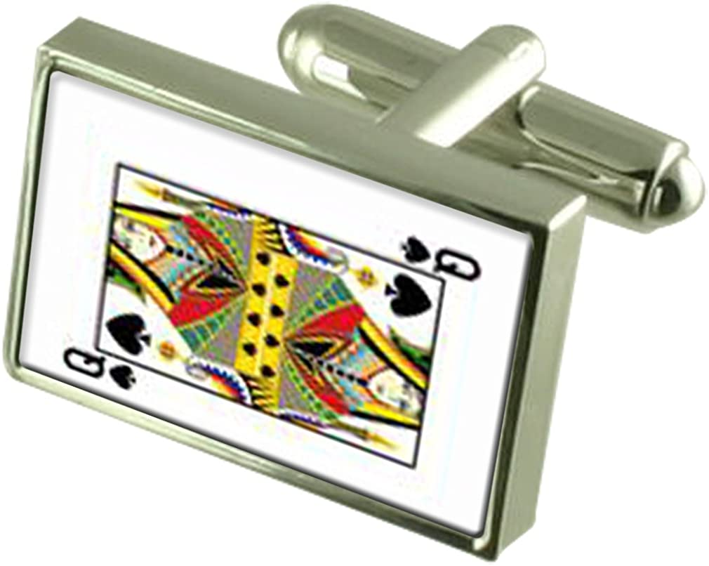 Select Gifts Spades Playing Card Queen Cufflinks Engraved Message Box