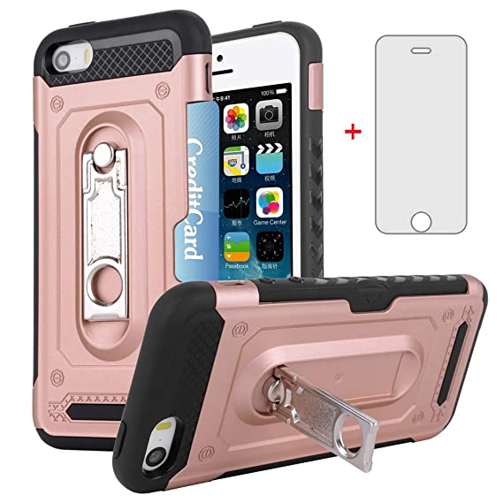 new concept 36c39 c86d2 iPhone 5S 5 SE 5SE Wallet i Phone Case with Tempered Glass Screen Protector  Accessories Credit Card Holder Stand Protective Cover for Apple iPhone5 ...